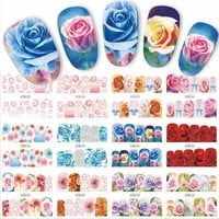12 Designs/Sets Water Transfer Beautiful Rose Decals Full Decals Nail Sticker Mixed Colorful Flower Nail Art DIY Decor BN553-564