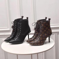 2020 Office New【Louis Vuitton】LV One Word With Flat Bottom High Boots best quality