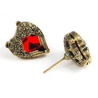 World Pride Retro Antique Red Stone Heart Shaped Earrings Fashion Angel Wings