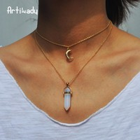 Crystal Stone Moon Choker Necklace