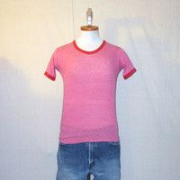 Vintage Burnout 70s PLAIN RAYON RINGER Blank Paper Thin Distressed Small Heather Red Unisex Tri-Blend T-Shirt