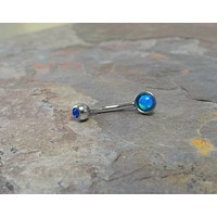 Blue Fire Opal Eyebrow Ring Rook Ear Piercing