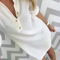 New White Buttons V-neck Long Sleeve Fashion Mini Dress