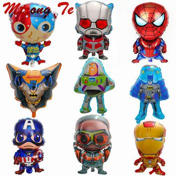 10pcs Super Heros Batman Spiderman Captain Mario Ironman Foil Helium Balloons Kids Inflatable Toys Baby Shower Birthday Decora