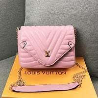 LV Louis Vuitton Women Fashion New Leather Chain Crossbody Bag Shoulder Bag Pink