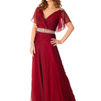 30s Inspired Burgundy Chiffon Flutter Sleeve Evening Gown