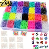 Talented Kidz 9100 Premium Quality Bundle. Rainbow Rubber Bands Refill & Storage Organizer Loom: 8500 Bands in 28 Colors, 12 Charms, 500 Clips & 100 Beads. Case With Lid Included. This Is The Authentic Mega Box Organizer Loom. Talented Kidz Exclusive!