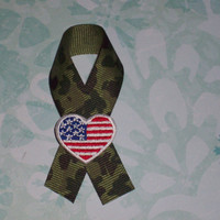 Camo and Heart Shaped American Flag Ribbon Pin