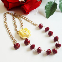 Red Gold Crystal Necklace, Crystallized Yellow Resin Flower Focal Necklace, Gift Under 40 Birthday, Anniversary Gift