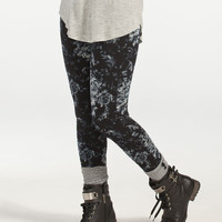 Just One Floral French Terry Leggings Black  In Sizes