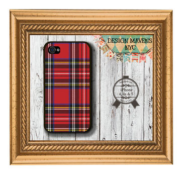 Red Tartan Plaid iPhone Case, Red Plaid iPhone Case, Fits iPhone 4, iPhone 4s, iPhone 5, iPhone 5s, Phone Case, Phone Cover