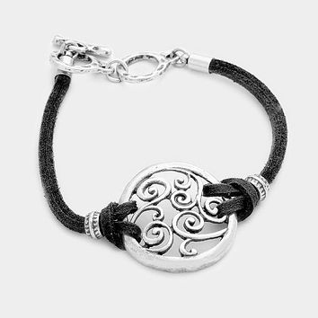 Filigree Disc & Faux Suede Toggle Bracelet