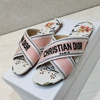 Dior new women's embroidered letters cross strap slippers shoes