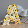 Personalised Wooden Flower Letter Light