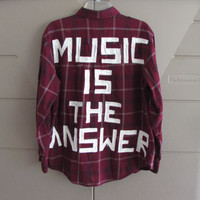 """Size Large Unisex Hand Painted """"Music Is The Answer""""  On Vintage Red Flannel"""