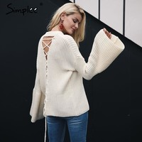 Simplee Lace up flare sleeve knitted sweater Women sexy hollow out pullover jumper Autumn winter casual sweater pull femme
