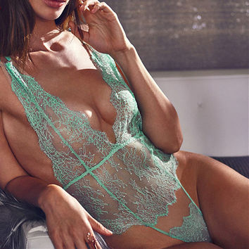 Lace Deep V-Neck One Piece Underwear Lingerie Sleepwear