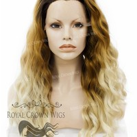 "24 inch Heat Safe Synthetic Lace Front ""Ada"" with Wavy Texture in Rooted Hombre"