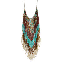 Native American Beaded Fringe Long Necklace