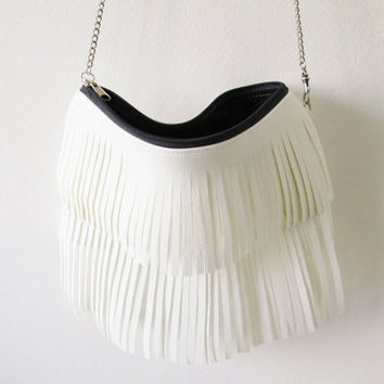 Leather Fringe purse, Clutch purse, Removable chain strap, Crossbody, Vegan Leather, Boho chic