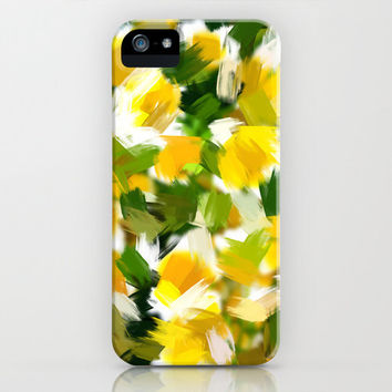 Art Print iPhone 6, 5, 4 and 3 Cases, Samsung Galaxy Cases, Yellow and Green Abstract Art Print Phone Cover