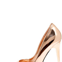 Fabuloso Rose Gold Pointed Pumps