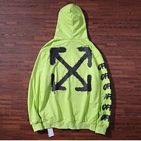 Off White New fashion letter arrow print couple hooded long sleeve sweater Green