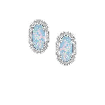 Elaine Stud Earrings in Ice Blue Kyocera Opal - Kendra Scott Jewelry