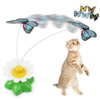 Electric Rotating Colorful Butterfly Pet Scratch Toy For Cats Kittens