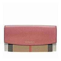 Burberry Women's House Check and Leather Wallet with Chain Cinnamon Red