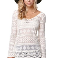 LA Hearts All Over Lace Tunic Top - Womens Tee - White
