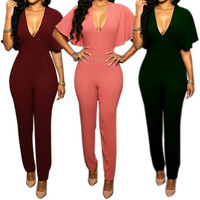 2017 Women Long Pants Jumpsuit Sexy V-neck Backless Flouncing Ruffle Sleeve Slim Party Club Romper  -MX8