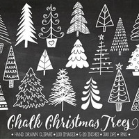 Chalkboard Christmas Tree Clip Art. Hand Drawn Chalk Christmas Illustrations. White Winter Images. Christmas Clipart for Gift Tags, Cards.