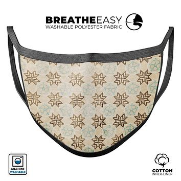 Aged Aqua Polygon Pattern - Made in USA Mouth Cover Unisex Anti-Dust Cotton Blend Reusable & Washable Face Mask with Adjustable Sizing for Adult or Child