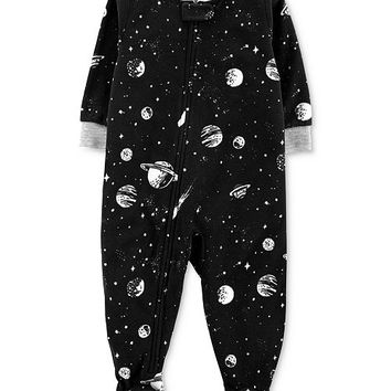 Carter's Baby Boys Space-Print Fleece Footed Pajamas Kids - Pajamas - Macy's