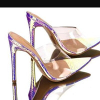 Hot style transparent film peep-toe narrow heel sandals