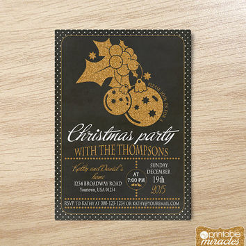 Christmas invitation, printable christmas party invitation, Golden christmas dinner invite, Chalkboard christmas invitation card