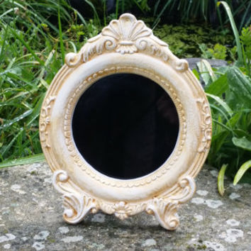Round scrying mirror, black mirror, divination mirror, Witches mirror, divination tools, gypsy glass, fortune telling, pagan altar tools,