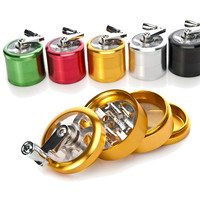 A CNC 50mm 4 Layers Metal Aluminum Chinese Herb Grinder Spice Herbal Smoking Crusher  Hookah Pipe Hand Crank Tobacco Grinder