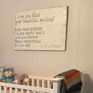 I Love You Much Most Beautiful Darling Pallet Sign Shabby Chic Nursery Vintage Nursery Wall Art Shabby Chic Wedding Vintage Wedding