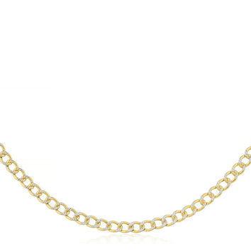 14K Yellow Gold 2mm Pave Cuban Chain 16-30inch