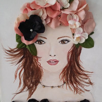 Mixed Media Girl Original Acrylic Artwork. Peach Flowers, Brown Hair, Female Portrait on Canvas
