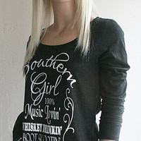Jack Daniels style Southern Girl Long Sleeve Heather Black T-Shirt - FREE SHIPPING in the USA