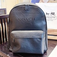 COACH New fashion pattern couple school bag backpack Bag Black