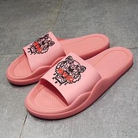 Kenzo 2019 new couple models candy color rubber slippers Pink