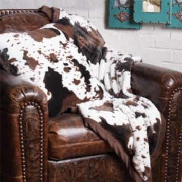 Cowhide Throw and Pillow