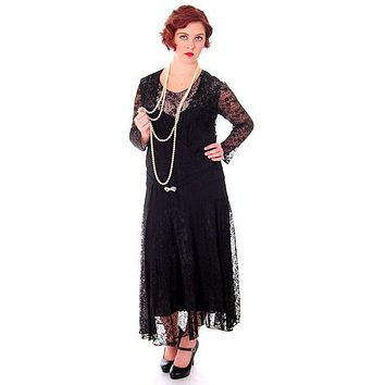 Vintage Black Spiderweb Lace & Sheer Silk Chiffon  Flapper Dress Late 1920s