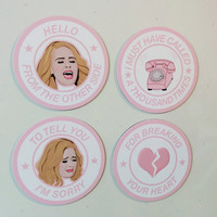 Adele Hello Lyrics 4 Pack Magnet Set: Hello From the Other Side
