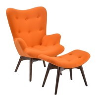 Auzzie Lounge Chair and Ottoman in Orange
