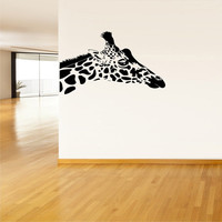 Wall Decor Vinyl Sticker Room Decal Art Spotted Animal Giraffe Head Sticking Out Of Wall 942